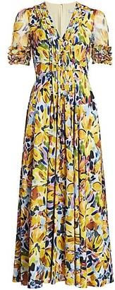 Badgley Mischka Floral Belted Midi Dress