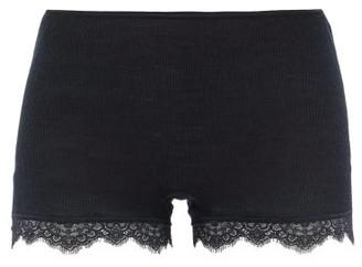 Hanro Lace-trimmed Merino Wool-blend Pyjama Shorts - Black