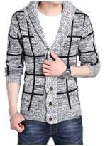 LANROON Men's Winter Warm Shawl Collar Plaid Cardigan Sweater, M