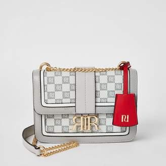 River Island Grey RI checkerboard cross body satchel bag