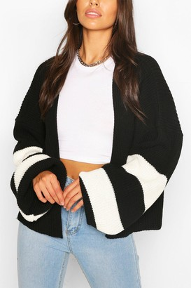 boohoo Stripe Balloon Sleeve Cardigan