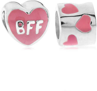 Rhona Sutton 4 Kids Children Enamel Bff Hearts Bead Charms - Set of 2 in Sterling Silver