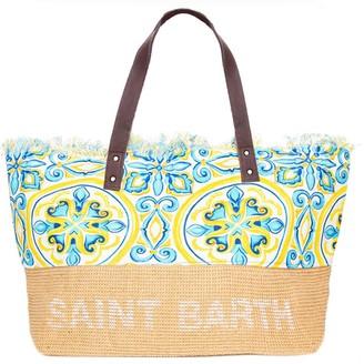 MC2 Saint Barth Jute And Maiolica Print Cotton Bag