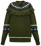 Miu Miu Floral-embroidered Wool Sweater - Womens - Green Multi