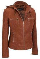 Black Rivet Womens Faux-Suede Jacket W/ Knit Hood XS Camel