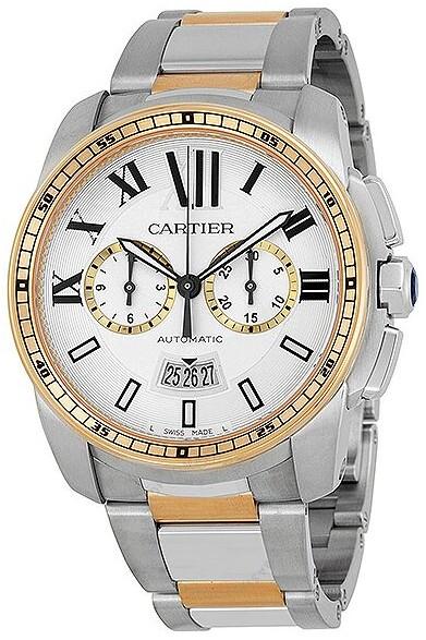 Cartier Calibre de Chronograph Automatic Silver Dial Men's Watch