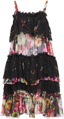 Dolce & Gabbana Tiered Floral-print Silk-blend Voile And Lace Dress