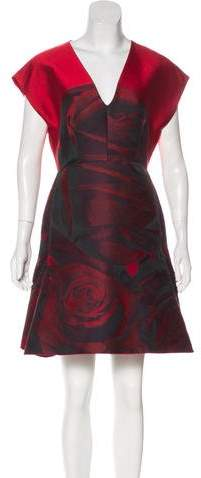 Giambattista Valli Rose Jacquard Mini Dress