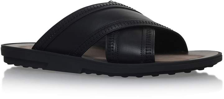 Tod's Leather Cross Slides