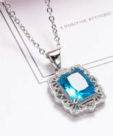 Streetregion Women's Necklaces Blue - Sea Blue Crystal & Silvertone Filigree Princess-Cut Pendant Necklace
