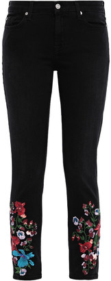 7 For All Mankind Embroidered Mid-rise Skinny Jeans