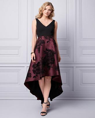 Le Château Flocked Floral Print Satin Gown