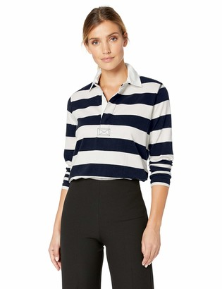 Chaps Women's Stripe Fashion Polo Rugby Long Sleeve Shirt