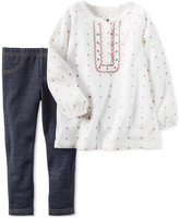 Carter's 2-Pc. Embroidered Tunic & Denim Leggings Set, Baby Girls (0-24 months)