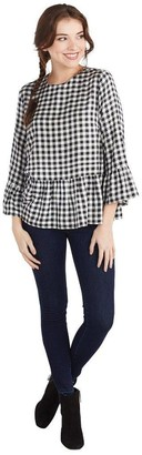 Mud Pie Womens Flora Flounce Shirt-Black and White Gingham Large