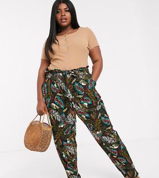 Koko Tropical Print Paper Bag Pants
