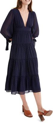 Madewell Tie Sleeve Tiered Midi Dress