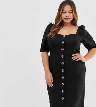 Asos DESIGN Curve linen button through midi dress with sweetheart neckline