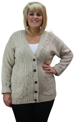 Clothing Trader Ladies Cable Knitted Button Aran Boyfriend Grandad Cardigan Sweater