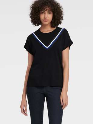 DKNY Women's Short Sleeve Pullover With V Lurex Trim - Black - Size XX-Small