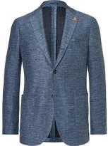 Lardini Blue Slim-Fit Unstructured Mélange Slub Cotton And Linen-Blend Jersey Blazer