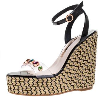Sophia Webster Black Patent Leather And PVC Dina Crystal Studded Wedge Espadrille Platform Ankle Strap Sandals Size 38