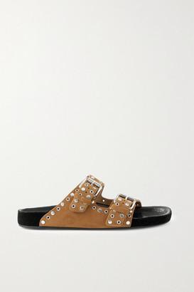 Isabel Marant Lennya Embellished Suede Slides - Camel
