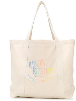 MAISON KITSUNÉ Rainbow Logo Print Tote Bag
