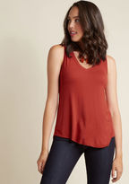 MCT1065 Every fashionista knows the necessity of pieces that can be infinitely styled, and this rust red tunic promises unlimited options. Opposite its V-neckline, this ModCloth-exclusive tank top hides a hint of sweet style, while its high-low hem and ultra-soft