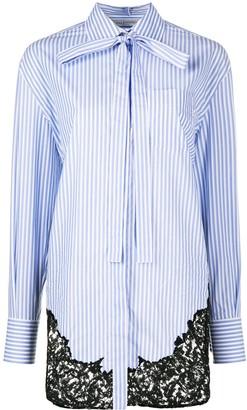 Valentino Lace-Panel Striped Blouse