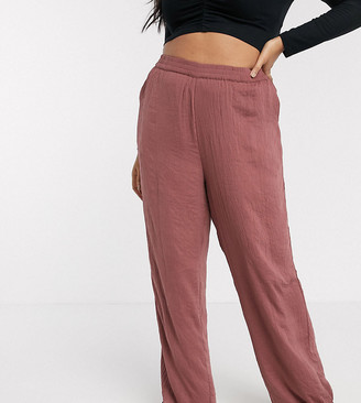 Vero Moda Curve satin trousers in rose