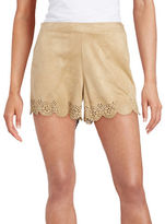 Kensie Scalloped Laser Cut Faux Suede Shorts