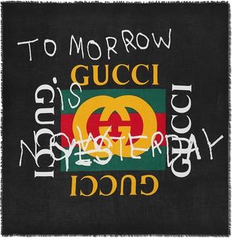 Gucci Black Coco Capitan logo silk shawl