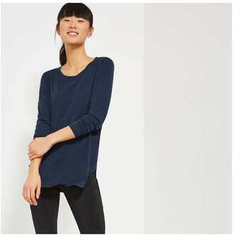 Joe Fresh Women's Long Sleeve Tee, Navy Mix (Size L)