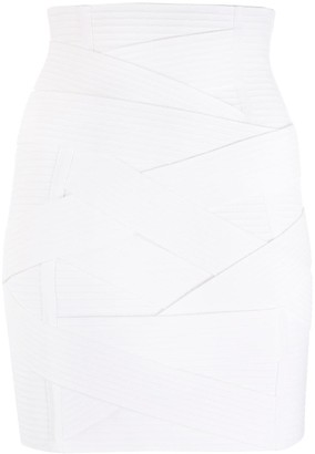 Balmain Bandage Fitted Mini-Skirt