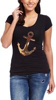 Black & Gold Sequin Anchor V-Neck Tee