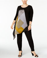 Alfani Plus Size Printed Asymmetrical Tunic, Created for Macy's