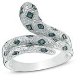 Zales 1/8 CT. T.W. Enhanced Blue and White Diamond Serpent Ring in Sterling Silver