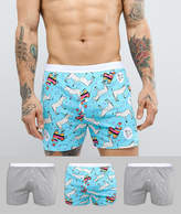 Asos Jersey Boxers In Donkey Print 3 Pack