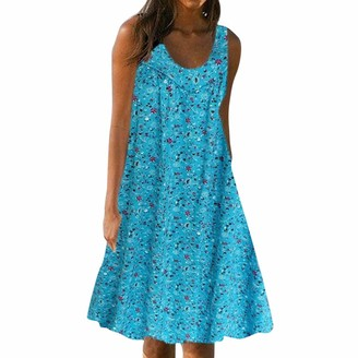 Hetde Women's Dresses Womens Sleeveless Strappy Dress Summer Bohemian Floral Flared Beach Midi Dresses Loose Plus Size Casual Shirt Tops Blue
