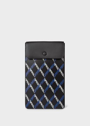 Paul Smith Black 'Geo' Print Leather Neck Pouch
