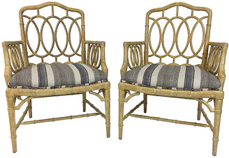 One Kings Lane Vintage Hickory Faux-Bamboo Armchairs - Set of 2 - Von Meyer Ltd.