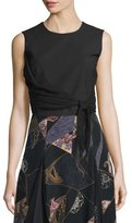 Elizabeth and James Judith Sleeveless Waist-Tie Top, Black
