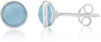 Auree Jewellery Savanne Sterling Silver & Blue Chalcedony Stud Earrings