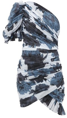 Alexandre Vauthier Ruched One-shoulder Floral-print Cotton Dress - Womens - Navy Print