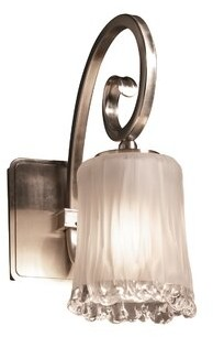 Justice Design Group Veneto Luce - Victoria 1-Light Wall Sconce Design Group Finish: Brushed Nickel, Shade Color: White Frosted, Integrated LED Color Temperature: