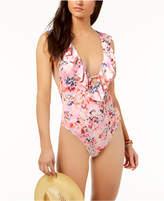 Bar III Crystal Floral Printed Ruffled Cross-Back Cheeky One-Piece Swimsuit, Created for Macy's Women's Swimsuit