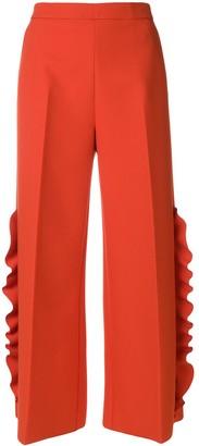 MSGM Wide-Leg Ruffle Trousers