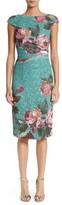 Monique Lhuillier Women's Rose Print Guipure Sheath Dress