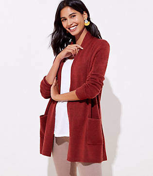 LOFT Shawl Collar Pocket Open Cardigan